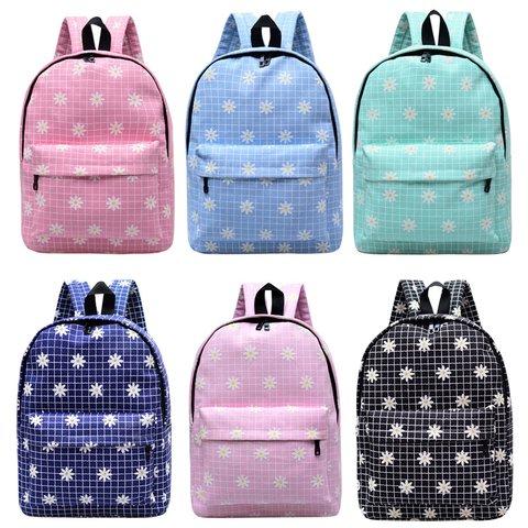 Printed Flower Waterproof Zipper Canvas Backpacks for Teenager