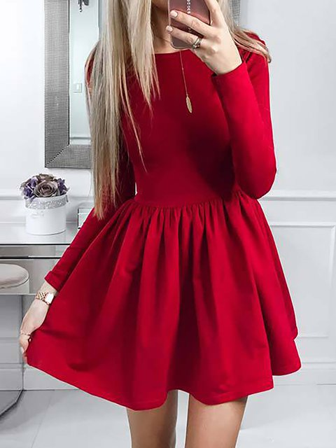 Solid Fall Long Daily Swing Casual Sleeve Dress Women Px76xnX1
