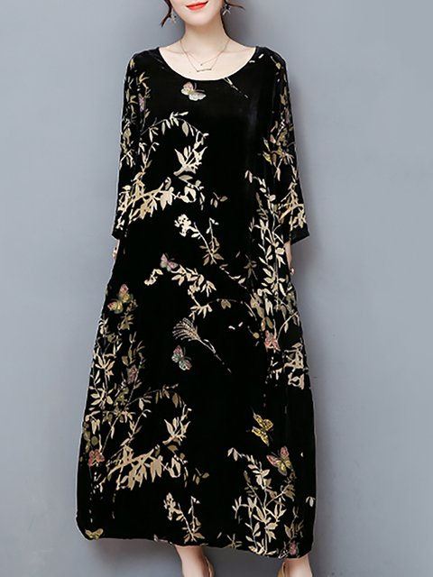 Crew Neck Black Women Casual Dress Shift Long Sleeve Floral Dress