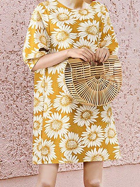 Cotton Shift Sleeve Daily Women Floral Dress Half I8RrIq