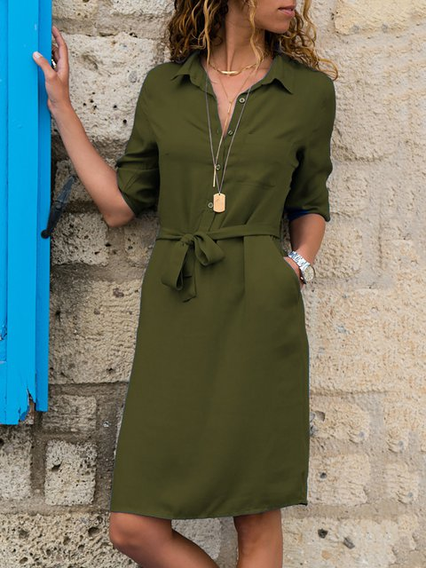 Shift Women Daily Casual Long Sleeve Solid Spring Dress