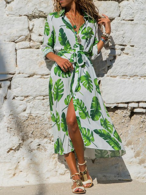 Women Spring Floral Shirt Dresses with Belt