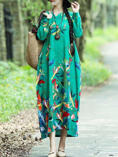Elegant neck V Cocoon Women Sleeve Dress Casual Long Floral Cotton Printed qawqfzT