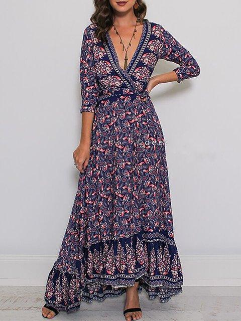 Dress 4 Purple Women Printed Casual Daily neck Swing Sleeve V Fall 3 qxHPZgO