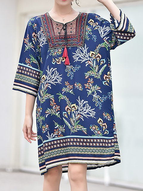 A-line Women Daily 3/4 Sleeve Casual Cotton Printed Spring Dress