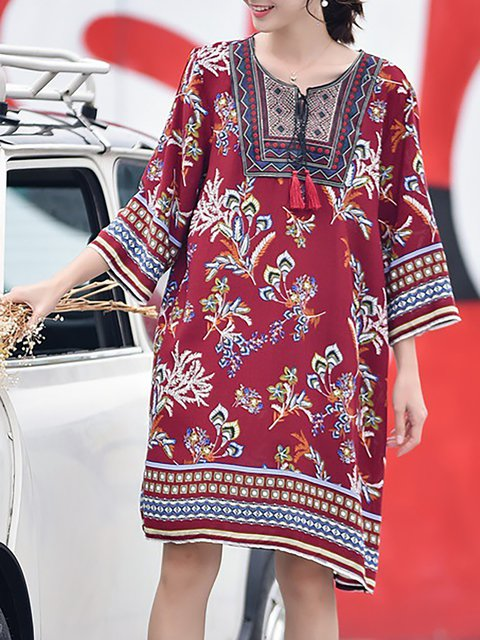 Women A Cotton Casual Fall Printed line Dress Daily 4 Sleeve 3 Fq0Awq45