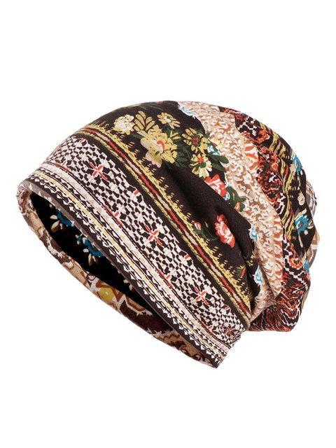 Womens Retro Cotton Tribal Printed Dual Use Scarf Beanie Hats