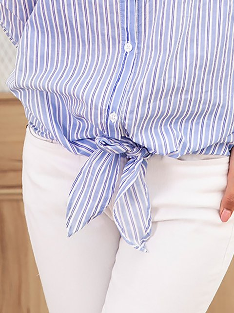 Striped Shoulder Bow Elegant Blue Blouse Off OxqUIwcA