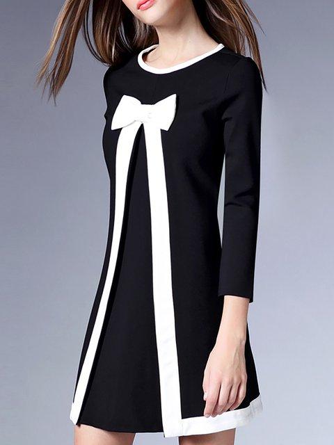 Dress Black Daily Women Paneled Swing Statement Solid Elegant Long Sleeve zzvPqZ