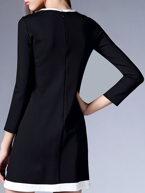 Dress Black Daily Women Paneled Swing Statement Solid Elegant Long Sleeve zzvPqZ