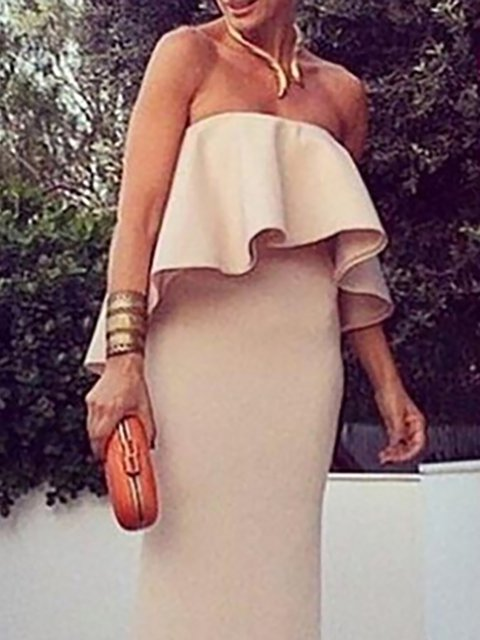 Women Apricot Cotton Prom Bodycon Shoulder Sleeveless Dress Daily Off Paneled Xxq7tPa