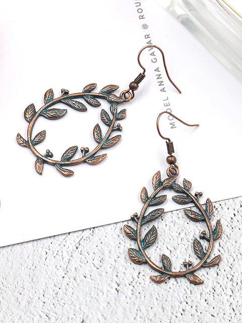 Womens Vintage Leaf Alloy Earrings