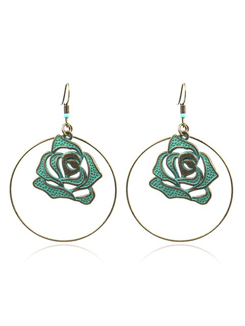 Womens Round Flower Alloy Earrings