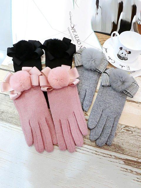 Girls Cute Bowknot Warm Gloves