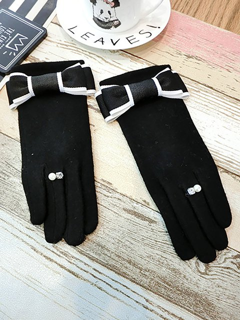 Black Winter Gloves with Fleece inside