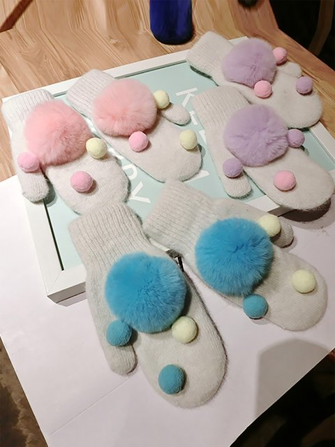 Girls Rabbit Hair Ball Winter Gloves