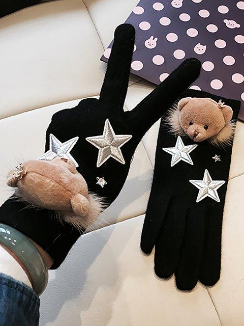 Girls Wool Bears Gloves