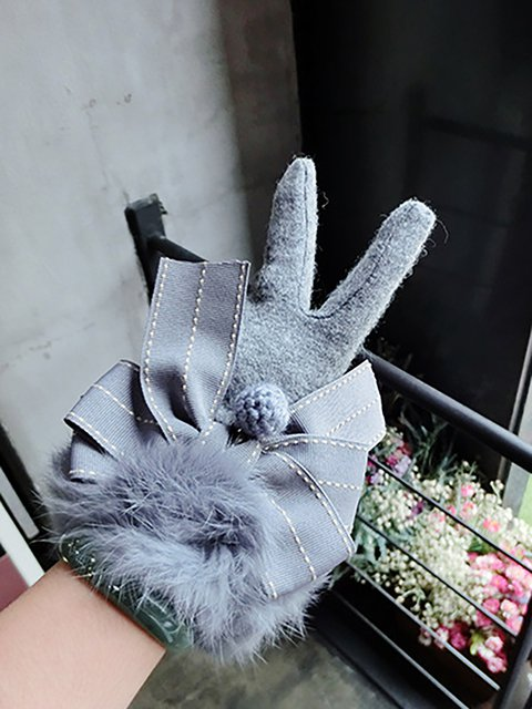 cute warm gloves with bow tie hair ball justfashionnowcom