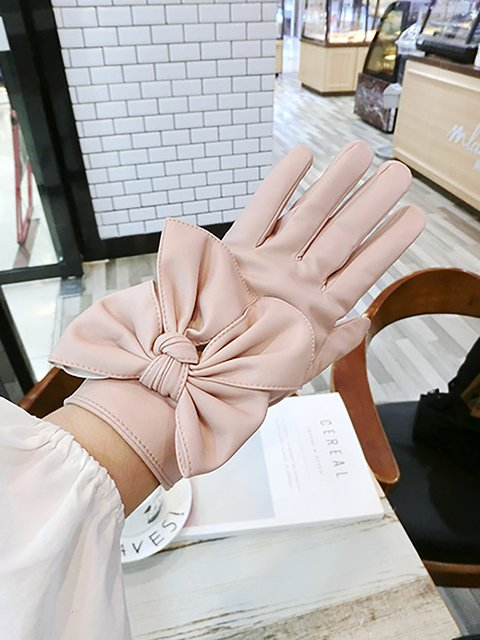 Womens Leather Gloves with Large bow