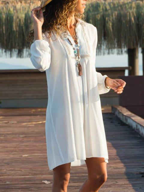 Shirt Collar  Shift Women Daily Casual Long Sleeve  Solid Spring Dress