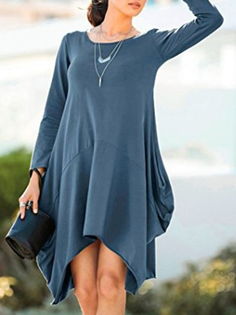 Cocoon Women Daily Casual Long Sleeve Cotton-blend  Spring Dress