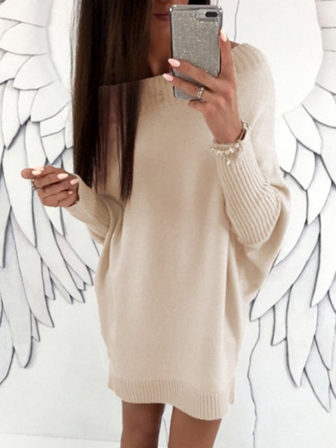 Shift Women Casual Knitted Long Sleeve  Solid Spring Dress