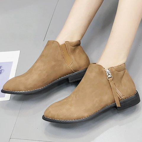 Women Zipper Booties Casual Comfort Ankle Shoes