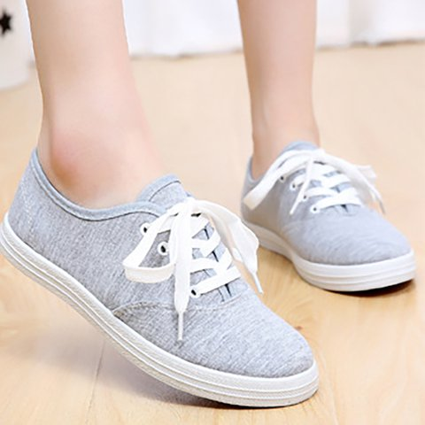Women Canvas Sneakers Casual Comfort Lace Up Shoes