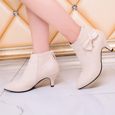 Women Flocking Low Heel Booties Casual Ankle Plus Size Shoes