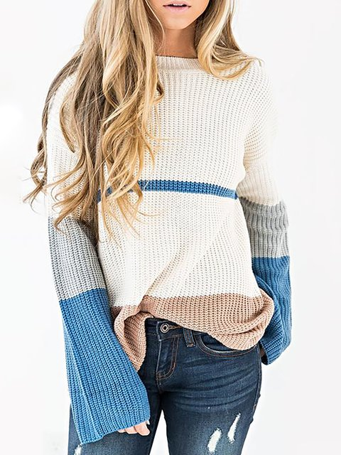 White Color-block Crew Neck Simple  Basic Plain Sweater