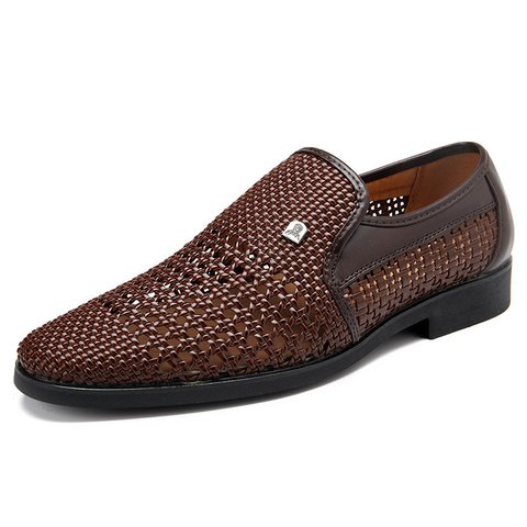 Men Woven Style Leather Hollow Out Breathable Casual Shoes