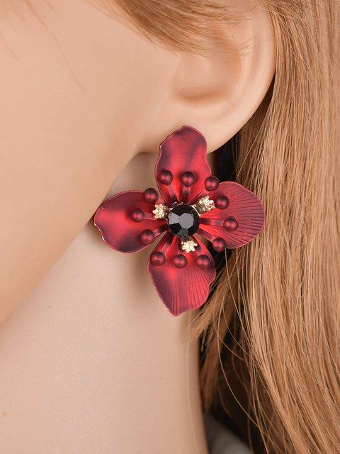 Womens Flower Diamond Bohemian Earrings