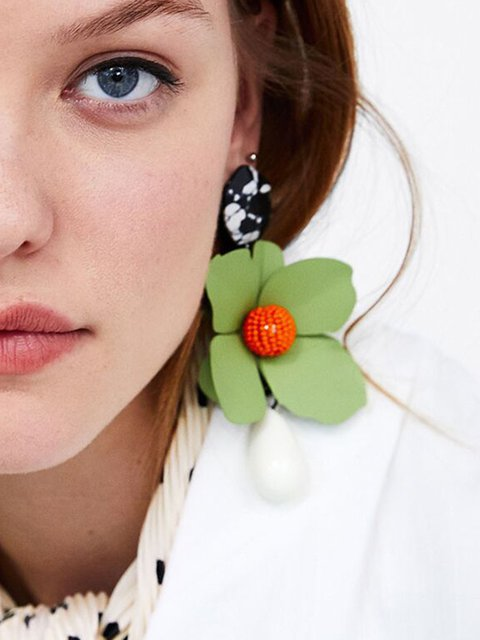 Hot Sale Womens Metal Paint Flower Earrings