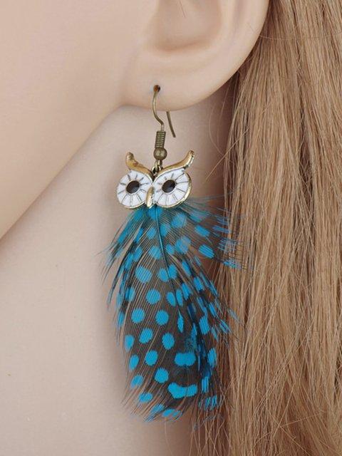 Owl Glazed Feather Tassel Earrings