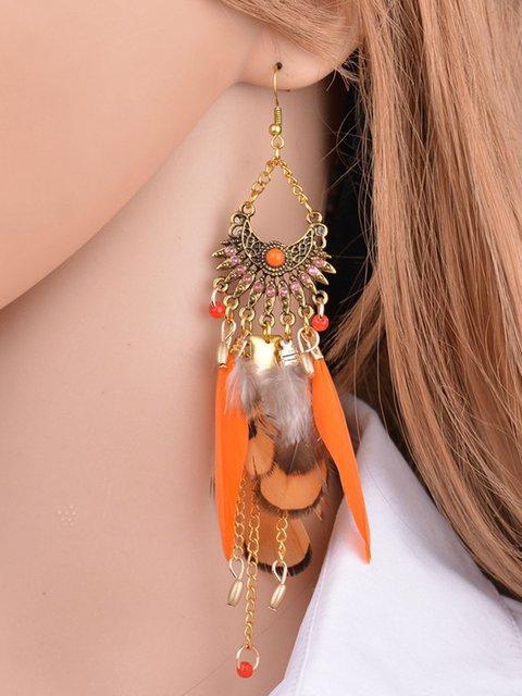 Womens Long Feather Pendant Tassel Earrings