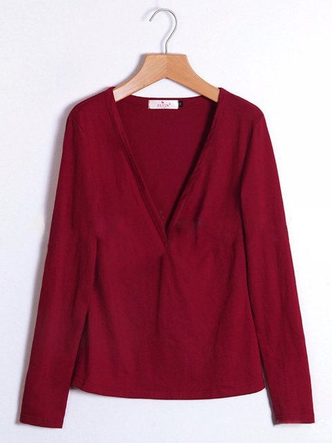 Wine Red neck Long Shirt Sleeve T Basic V Solid rrwOAnqp