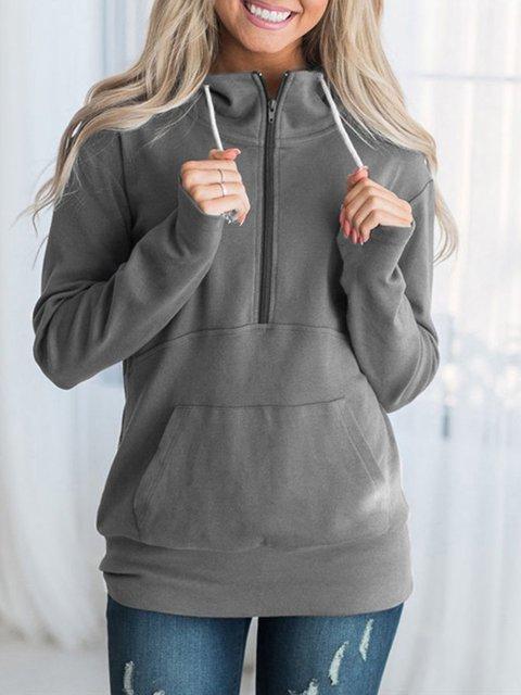 Long Sleeve Casual Zipper Solid Plus Size Hoody