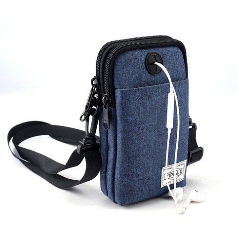 Outdoor Earphone Hole Casual Zipper Nylon Mini Phone Wallets Crossbody Bags
