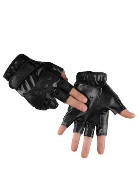 New Mens Half-finger PU Leather Non-slip Gloves