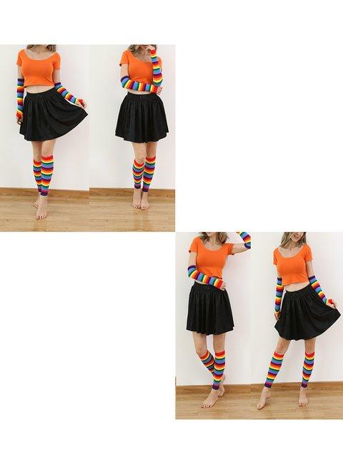 Girls Hot Sale Cotton Rainbow Gloves