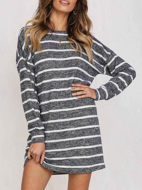 Deep gray Shift Women Long Sleeve Casual Striped Spring Dress