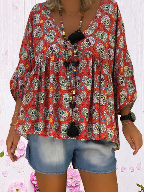 Paneled V neck Cotton-blend Plus Size Casual Abstract Blouse