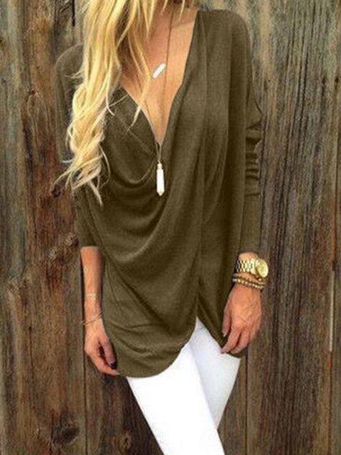 Size Cotton Plus neck V Blouse Solid blend 1xSqpXT