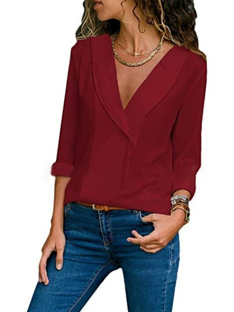 V neck Solid Long Sleeve Elegant Buttoned Chiffon Plus Size Blouse
