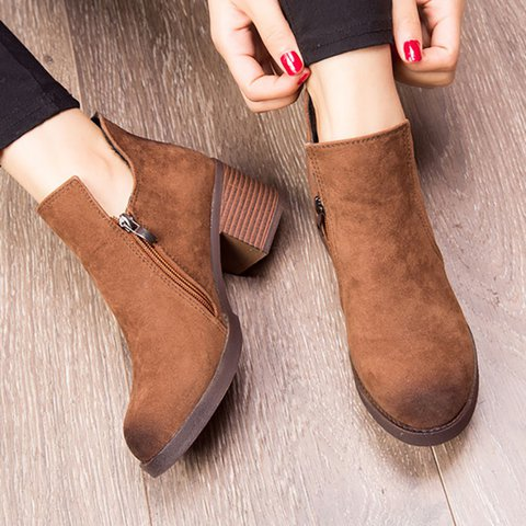 Zipper Daily Chunky Heel Martin Women Ankle Boots