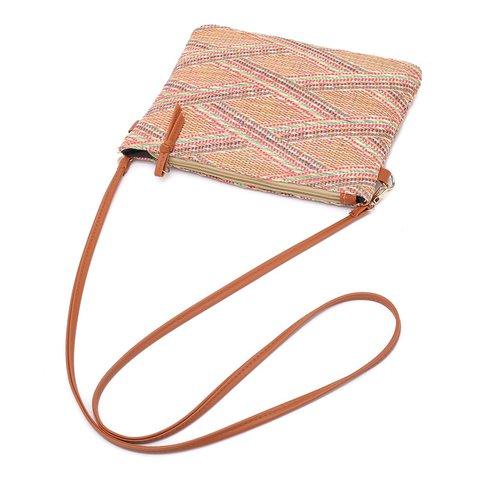 Women's Casual Mini Color Woven Beach Phone Crossbody Bags