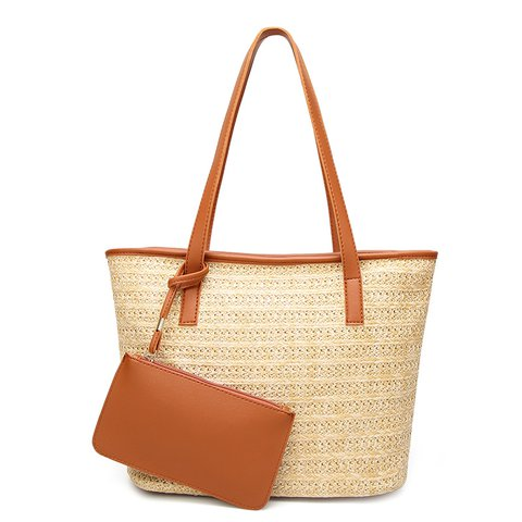 Women's 2PCS Simple Woven Beach Casual Shoulder Tote Bags