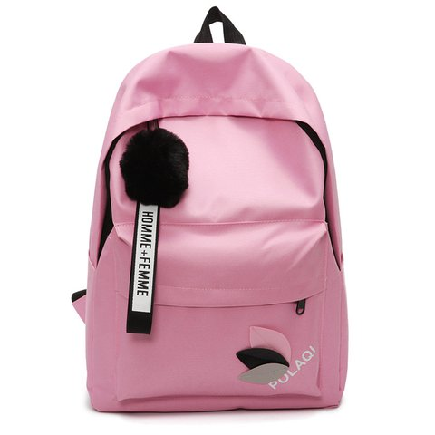 Women's Pure Color Ball Top Casual Canvas Backpacks