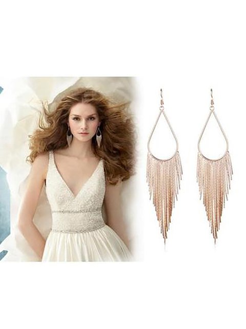 Womens Newest Retro Tassel Metal Earrings