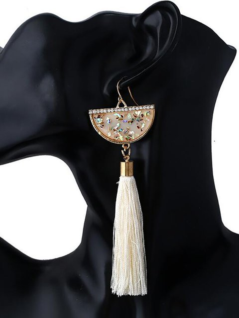 Bohemian Folk Wind Bead Tassels Winding Long Earrings